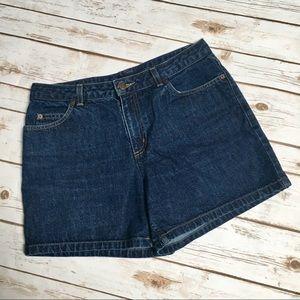 The Limited dark wash denim high rise shorts